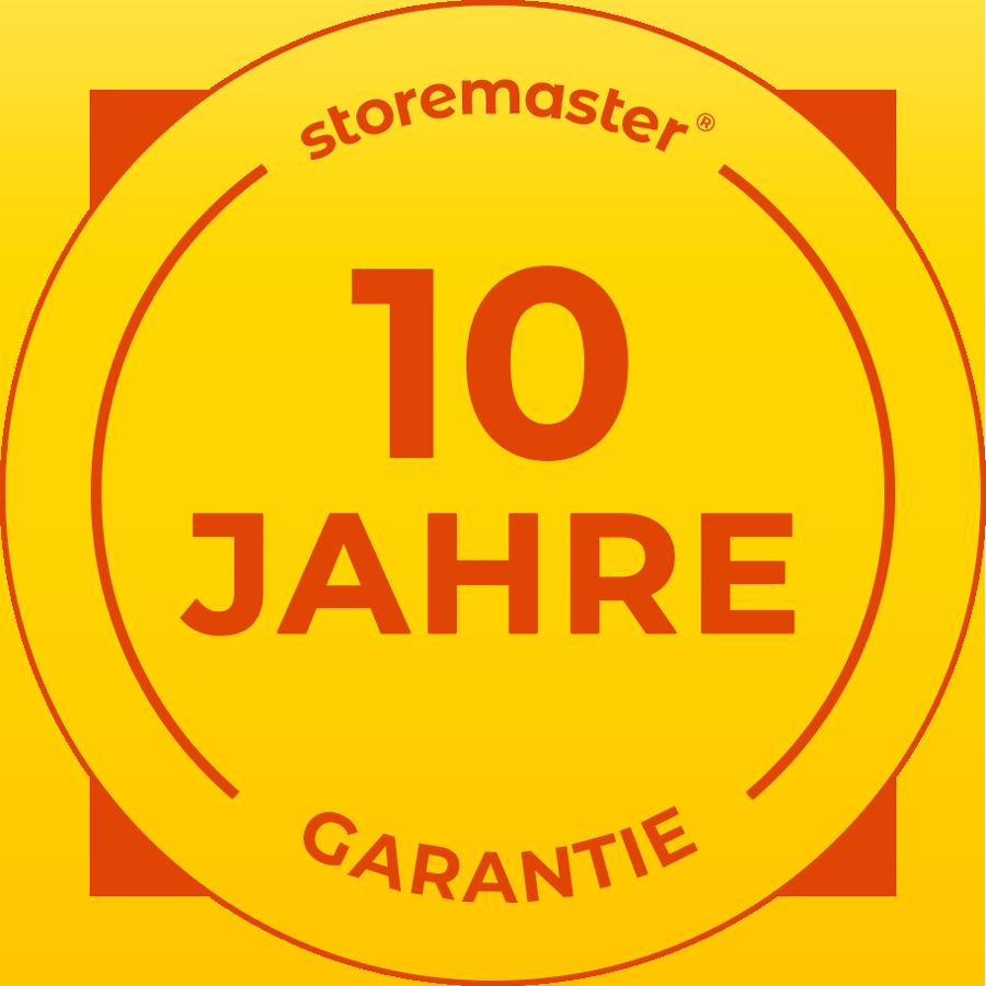10 Jahre Garantie auf höchste Produktqualität von storemaster